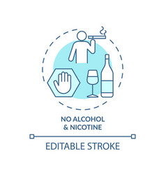 No alcohol and nicotine turquoise concept icon vector