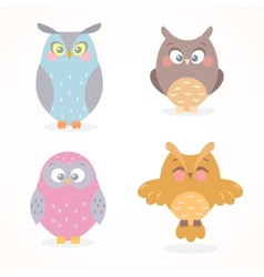 owls set vector image vector image