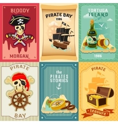 Pirate flat icons composition poster vector
