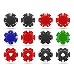 poker chips on white background vector image