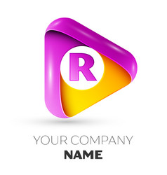 Realistic letter r symbol in colorful triangle vector