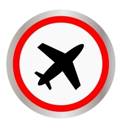 Round airplane icon black silhouette vector image