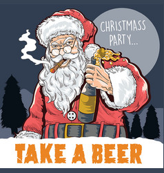 santa claus drink beer vector image