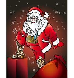santa wearing snakeskin boots vector image