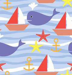 Seamless Pattern with Sea Life Boat Sea Star Whale vector image vector image