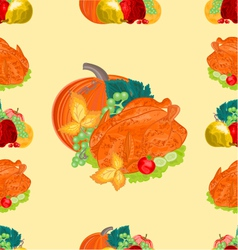 Seamless texture turkey and fruit with pumpkin vector image