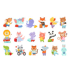 set cute adorable animal characters traveling vector image