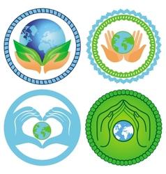 Set ecology emblems vector