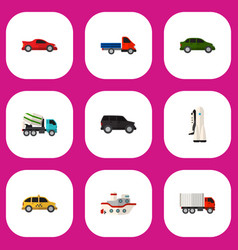 Set of 9 editable vehicle flat icons includes vector