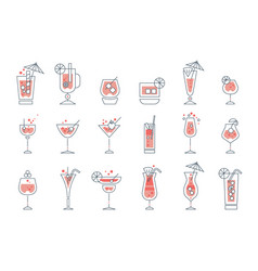 set of alcoholic cocktails line art vector image