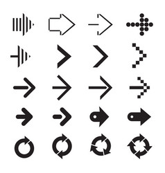 Set of black arrows vector