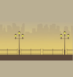 Silhouette of fence with street lamp beauty vector