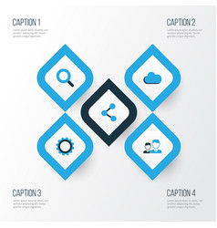 Social colorful icons set collection of seek vector