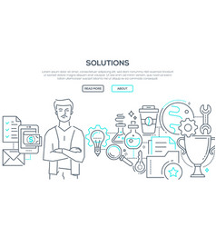 solutions - modern line design style vector image