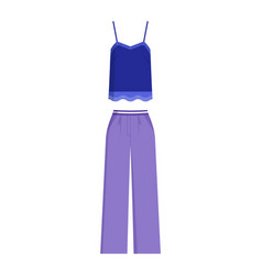 Stylish summer female costume top and trousers vector