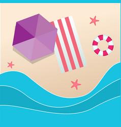 summer beach umbrella red beach mat swimming tire vector image