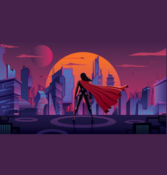 superheroine in futuristic city vector image
