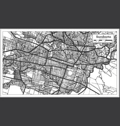 Surakarta indonesia city map in black and white vector