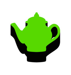 Tea maker sign green 3d icon with black vector