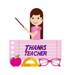 thanks teacher girl character and apple glasses vector image