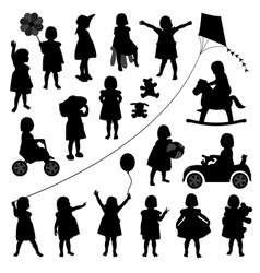 Toddler child children baby girl a set vector