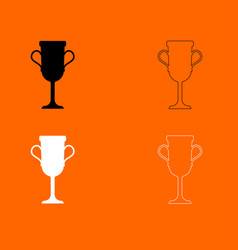 Trophy cup black and white set icon vector