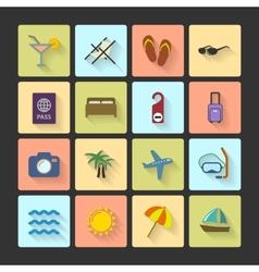Vacation UI layout icons squared shadows vector