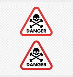 warning sign danger skull vector image