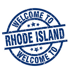 Welcome to rhode island blue stamp vector