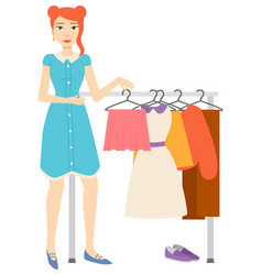 Woman buying clothes shopping female character vector
