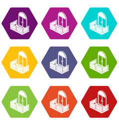 wood balcony icons set 9 vector image