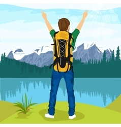 Young male hiker enjoying mountain lake vector