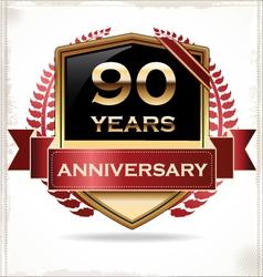 90 years anniversary golden label vector image vector image