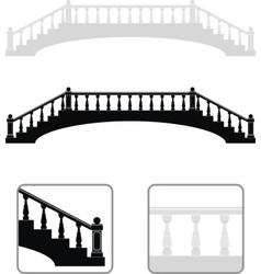 ancient arch stone bridge silhouettes vector image