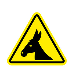attention donkey driving jackass on yellow vector image vector image