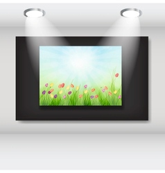 Frame with natural floral background in art vector image