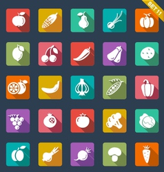 Fruit and vegetables icons - flat design vector image