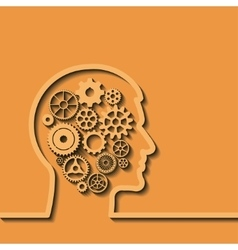 Gears in human head Thinking process vector image vector image