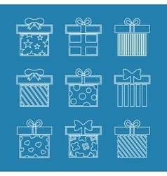 Gift boxes icons set in white blue vector image vector image