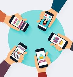 Social Network Concept Set of social media icons vector image vector image