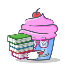 Student cupcake character cartoon style with book vector