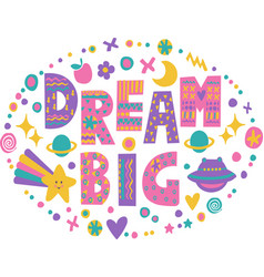 word art dream big vector image