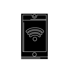 contour smartphone technology with wifi connection vector image vector image