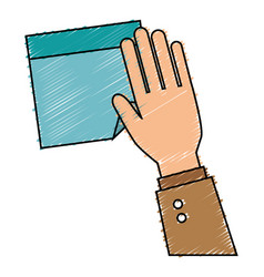 Hand human with paper leaf notebook icon vector