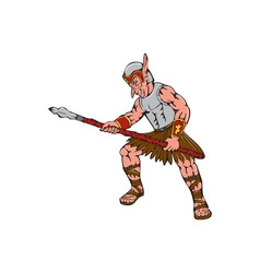 Orc Warrior Thrusting Spear Cartoon vector image