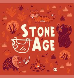 Prehistoric stone age print in cartoon vector