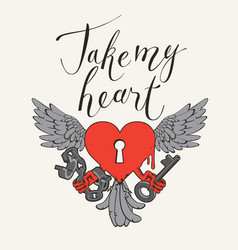 Valentine card with lock wings key and lettering vector