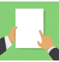 Blank sheet of paper in his hand vector image vector image