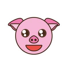 cute pig face kawaii style vector image vector image