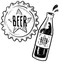 doodle beer bottle cap vector image